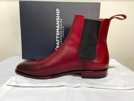Handmade Men's Burgundy Burnished Toe High Ankle Chelsea Leather Boot image 4