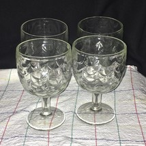 4 Vintage Heavy Thick Clear Textured Glass Thumbprint Goblets Barlett Co... - $39.59