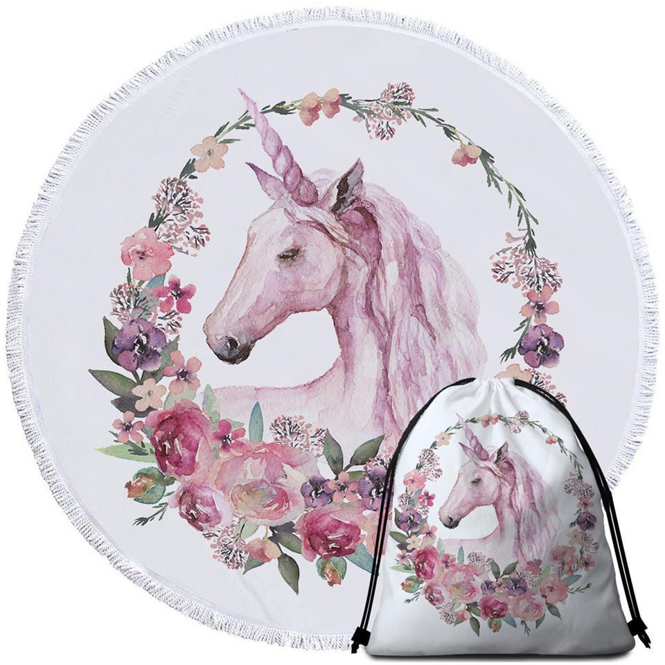 Floral Circle Unicorn Beach Towel - $12.32 - $35.93