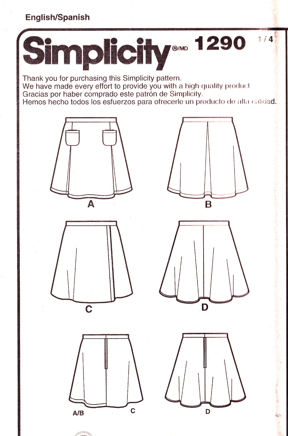Simplicity 1290 Girls Skirt Set Childrens Easy Sewing Pattern Kids Sizes 3-4-5-6