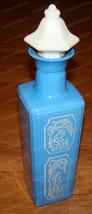 1965 Jim Beam Whiskey Decanter (Cameo Blue) White Cork Stopper - $28.22