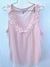 Elle Blush  Pink Layered Tank Top Lace trim Womens L EUC - $22.00