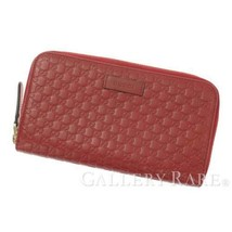 cbab9dbb492a GUCCI Micro Guccissima Leather Red 449391 Zip Around Wallet Authentic 53...  - $420.87