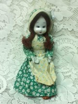 Vintage, 8-inch Wired Doll,  in Green Floral Peasant Dress - $9.45