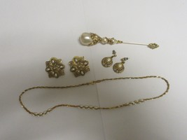 Costume Jewelry , Vintage , Napier , Chain , Earrings (2), Pin , Gold / Pearl - $74.25