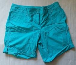 Liz Claiborne Womens Blue Petite Stretch Double Button Pocket Shorts Siz... - $12.19