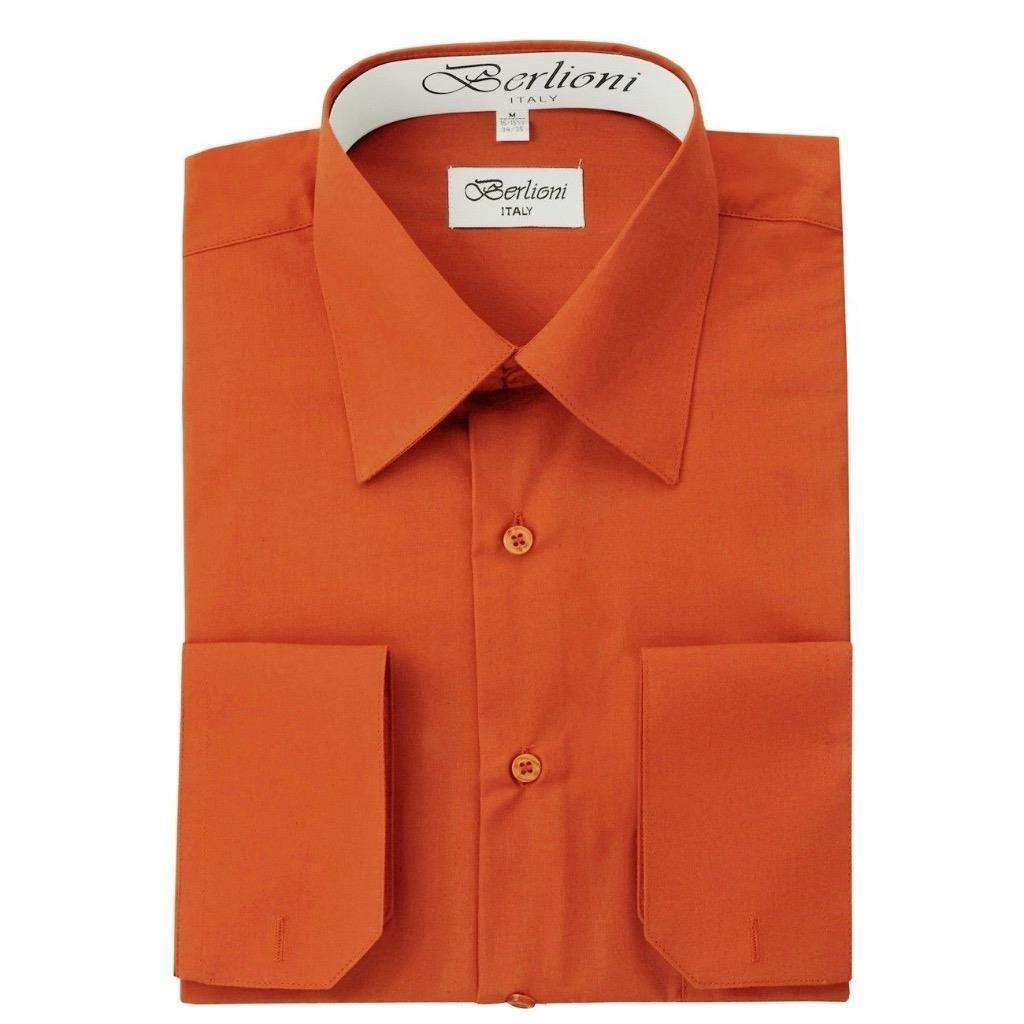 BERLIONI ITALY MEN'S PREMIUM FRENCH CONVERTIBLE CUFF SOLID DRESS SHIRT RUST