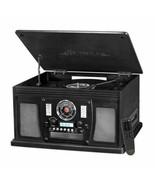 Black Entertainment Center AM/FM Radio CD Player Turntable Bluetooth Vin... - $166.22