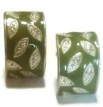 Vintage Curved Rectangle Green Enamel Leaf Clip On Earrings - $14.85