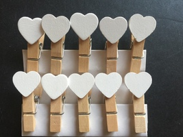 White Heart Clothespins,Wooden Paper Clips,Wedd... - $3.90