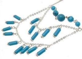 Beaded Necklace turqoise bead design IAS157 - $19.19