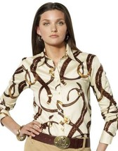 Lauren Ralph Lauren Equestrian RL Logo Print Cotton Sateen Button Up Shi... - $66.83