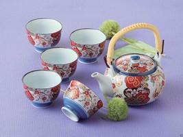 [SUPER SALE] Arita-yaki Porcelain: SAKURA - Kyusu Tea pot & 5 tea cup Se... - $108.45
