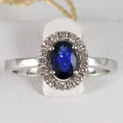 SOLID 18K WHITE GOLD FLOWER RING, DIAMONDS & OVAL BLUE SAPPHIRE, MADE IN ITALY