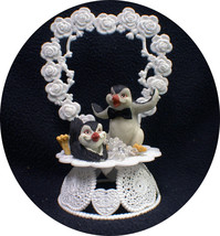 Happy Penguin Kickin Feet Wedding Cake topper funny top nature Animal Heart ICE - $44.45