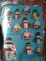 BUCILLA 83140 ROLY POLY SANTA AND SNOWMAN SET OF 12 ORNAMENTS FELT 1994 ... - $24.14