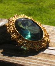 Vintage Mamselle Brooch Faceted Forest Emerald Green Oval Rhinestone and... - $88.00