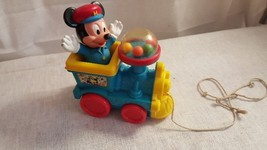 Mickey Mouse Pull-Along Train, Walt Disney, Plastic Vintage Toy - $3.99