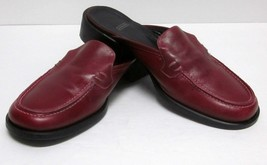 Coach Lara J182 Burgundy Leather Slides Women's (7B) SLIP-ON Loafers Made Italy - $39.55
