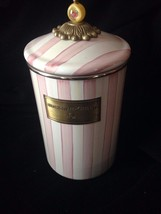 MACKENZIE Childs Large Pink & White Stripe Bathing Hut Czech Finial Canister Jar - $187.11