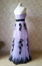 LIGHT PURPLE Strapless Sweetheart Neck High Waist Embroidery Maxi Wedding Dress  image 2