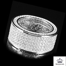 14k White Gold Plated 925 Sterling Silver Mens Wedding Diamond Pinky Ring Band - £78.67 GBP
