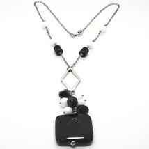 SILVER 925 NECKLACE, ONYX BLACK, PENDANT BUNCH, 45 CM, CHAIN ROLO' image 2