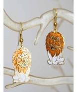 Fabulous Genuine White & Golden Cloisonne Enamel Leo Lion Earrings 1970s... - $14.80