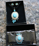 Avon Tribal Style Cord Necklace and Earring Gift Set and Bracelet turquoise - $24.00