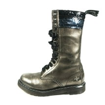 Dr Doc Martens Sequin Bronze Metallic Leather 14 Eye Tall Ribbon Lace Bo... - $249.99