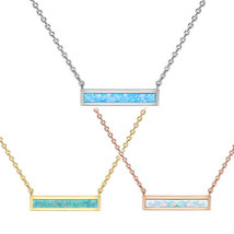 Rose Gold Plated Pink Opal Bar .925 Sterling Silver Necklace - $12.99
