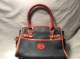 Vintage Dooney & Bourke Navy Blue All Weather Leather Buckle Satchel  - $45.53