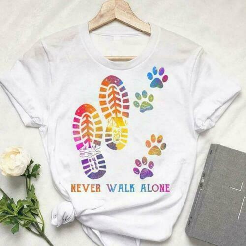 Dog Lovers Dog Paw Never Walk Alone Men T-Shirt Cotton S-6XL
