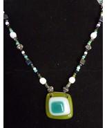 Modern Costume Jewelry Artisan Green Glass Beaded Necklace - $15.63
