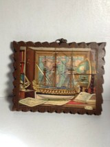 Vintage 1960 Nautical Painting On Wood Wall Hanging Art - $19.85