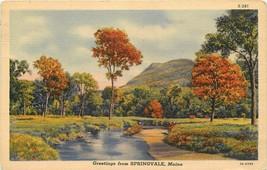 Linen Postcard ME L220 Greetings Springvale Stream Autumn Color 1940 Curt Teich - $4.90