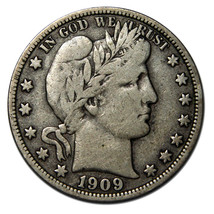 1909 Liberty Barber Head Half Dollar 50¢ Silver Coin Lot# A 732