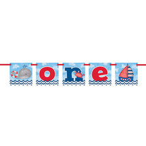 Nautical 1st Birthday Banner; Fun to be One Banner; Nautical Birthday Decoration - $5.93