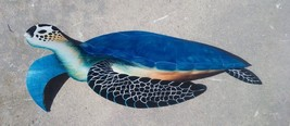 Sea Turtle hand Carved & painted from large Palm Tree Frond, tortoise na... - £50.16 GBP