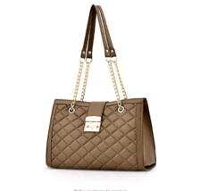 Ladies Brown Handbag Quilted Leather Purse Women's Satchel Shoulder Tote... - $33.65