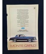 Chevrolet Monte Carlo Magazine Ad 7 x 10 Pentax ME Camera - $9.89