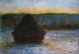 Haylofts thaw, sunset by Monet - 24x32 inch Canvas Wall Art Home Decor - $51.99