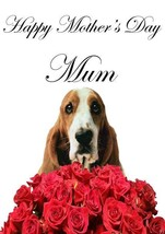 Basset Hound roses A5 Mother's Day Greeting Card Mother mom Coderose - $4.26