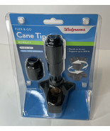 WALGREENS MOBILITY FLEX 'N' GO CANE TIP-SUPPORTS 300 LBS • TOOL FREE• BL... - $9.01