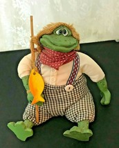 Russ Berrie & Co. Fishing Frog Bean Bag Figurine by Kathleen Kelly #2173 - $16.92