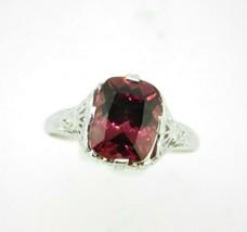Art Deco 14k Gold Filigree 3.10ct Genuine Natural Rhodolite Garnet Ring ... - $550.00