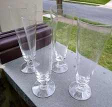 4 Lenox Crystal Decor Plain Pilsner Glasses Signed LENOX USA - $21.49