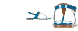 New Womens Authentic Coach Flats Leather 9 Shoes Bright Blue Logo Sandal... - $104.00