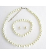 Ivory Pearl Statement Necklace For Wedding Bridesmaid Set Flower Girl Mo... - $21.00