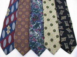 5 XMI Structure Claiborne Polka Dot Abstract Oval Blue Necktie Ties Lot# Z2-121 - $12.86